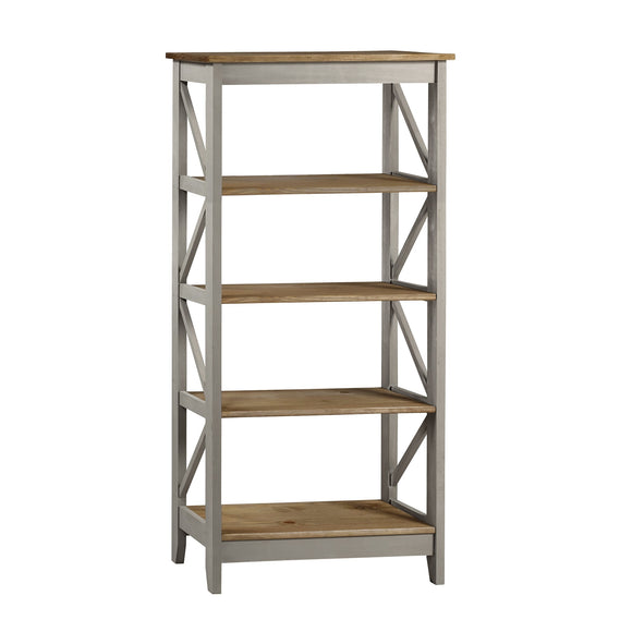 Core Products Corona Grey Washed 5 Tier Wide Shelf Unit - Wall Shelves Direct