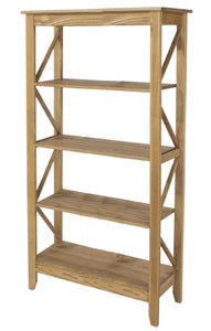 Core Corona Pine 5 Tier Wide Shelf Unit - Wall Shelves Direct