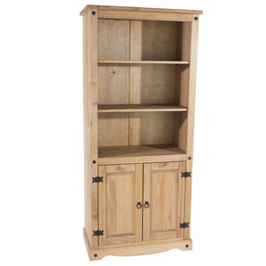 Core Corona Pine 2 Door Bookcase - Wall Shelves Direct