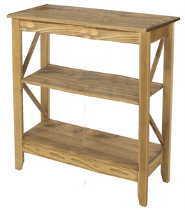 Core Corona Pine 3 Tier Wide Shelf Unit - Wall Shelves Direct