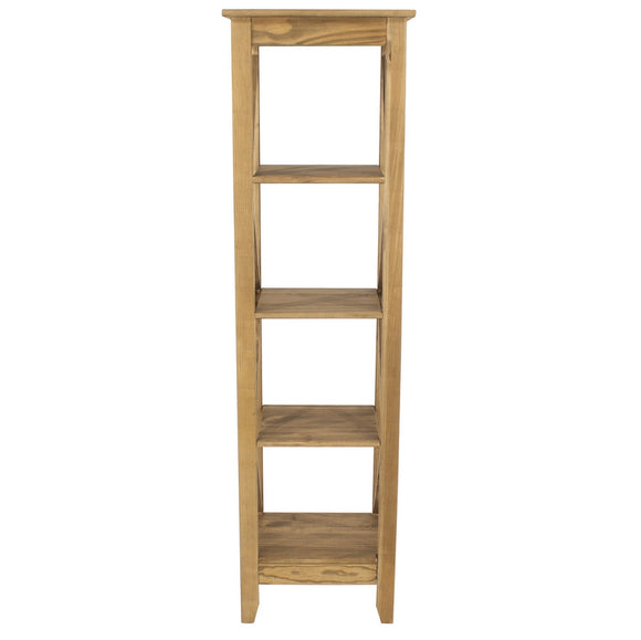 Core Corona Pine 5 Tier Narrow Shelf Unit - Wall Shelves Direct