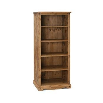 Corona 5 Shelf Tall Open Bookcase In Mexican Style Pine - Wall Shelves Direct