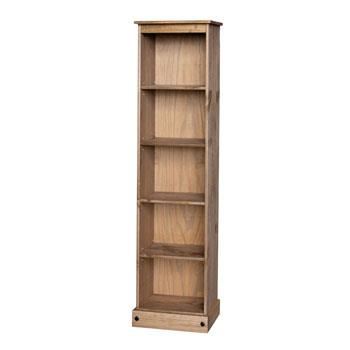 Corona Tall Narrow 5 Shelf Bookcase in Mexican Style Pine - Wall Shelves Direct
