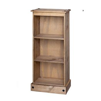 Corona Low Narrow Bookcase In Rustic Mexican Style Pine - Wall Shelves Direct