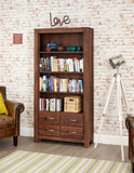 Baumhaus Mayan Walnut Large 4 Drawer Bookcase - CWC01A - Wall Shelves Direct