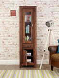 Baumhaus Mayan Walnut Narrow Glazed Bookcase - CWC01C - Wall Shelves Direct
