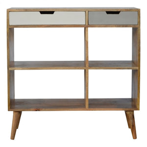 Grey Cutout Bookcase With 2 Drawers - Wall Shelves Direct