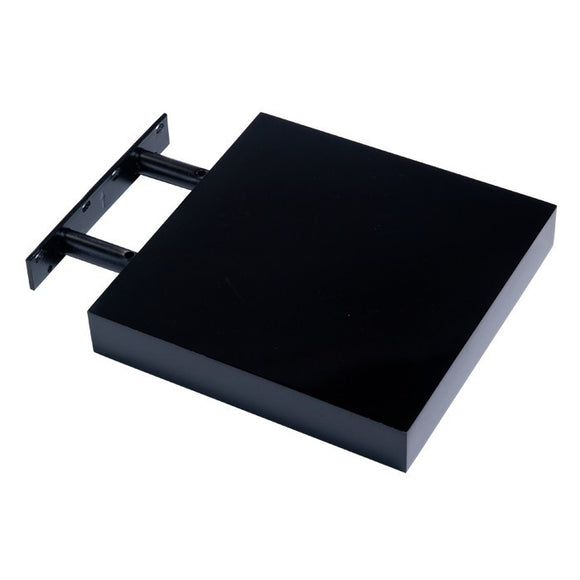 Hudson Box Shelf Kit - Gloss Black - 24cm Wide - Wall Shelves Direct