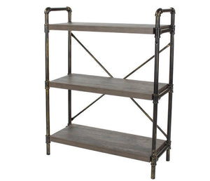 Core Products Loft 3 Tier Bookshelf With Pipe Design Uprights - Wall Shelves Direct
