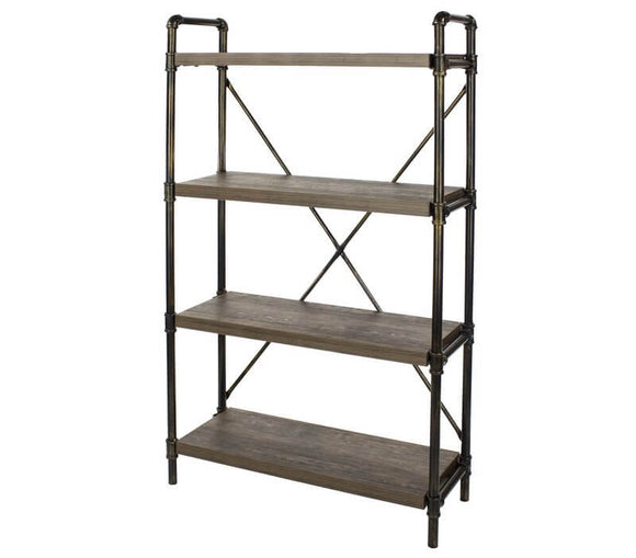 Core Products Loft 4 Tier Bookshelf With Pipe Design Uprights - Wall Shelves Direct