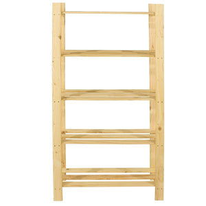 Core Products Natural Wood 300x1600mm 5 Tier Shelf Unit - Wall Shelves Direct