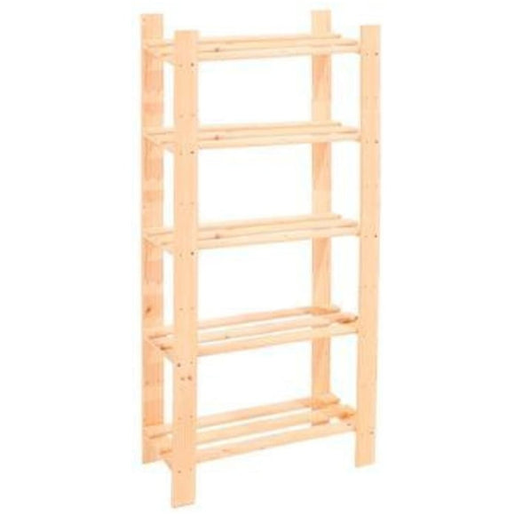 Core Products Natural Wood 600x1500mm 5 Tier Shelf Unit - Wall Shelves Direct