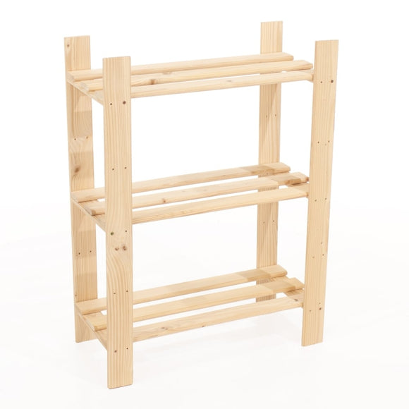 Core Products Natural Wood 600x800mm 3 Tier Shelf Unit - Wall Shelves Direct