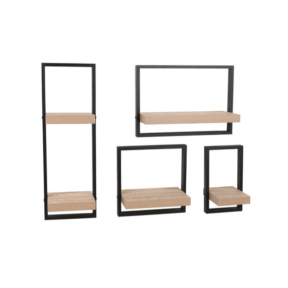 Core Products Nova Oak & Black Medium Shelf Kit - Wall Shelves Direct