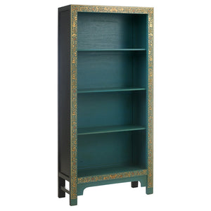 40235 - Baumhaus The Nine Schools Oriental Decorated Blue Bookcase - Wall Shelves Direct