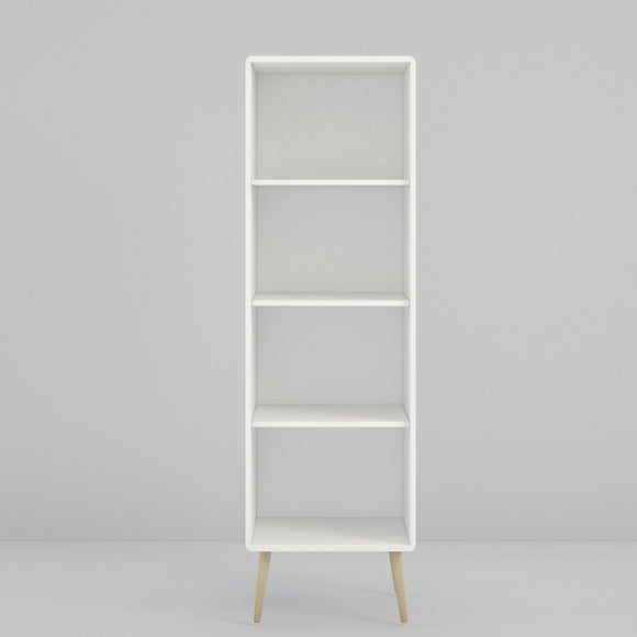 Steens Soft Line Retro Spindle Style White Tall Narrow Bookcase - Wall Shelves Direct