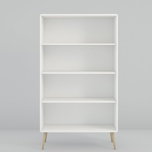 Steens Soft Line Retro Spindle Style White Wide Bookcase Shelving Storage - Wall Shelves Direct