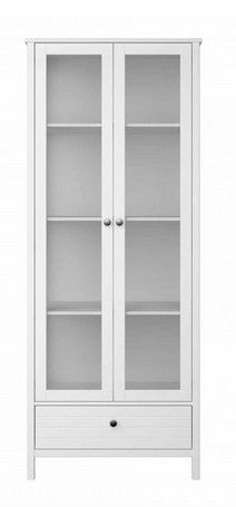 Steens New York 2 Door 1 Drawer Glazed Display Cabinet - Wall Shelves Direct