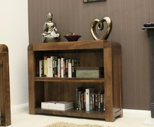 Baumhaus Shiro Walnut Low Bookcase - CDR01B - Wall Shelves Direct