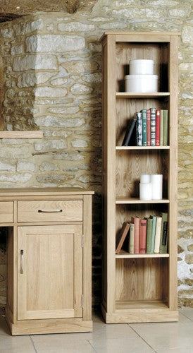 Baumhaus Mobel Oak Narrow Bookcase - COR01D - Wall Shelves Direct