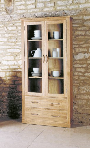 Baumhaus Mobel Oak Large Glazed Display Cabinet - COR01F - Wall Shelves Direct