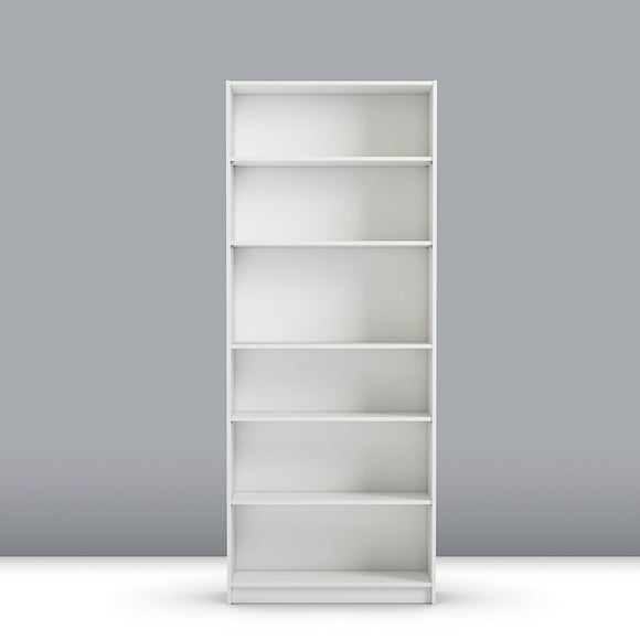 Steens Anette Wide Bookcase With 6 Shelves In White - Wall Shelves Direct