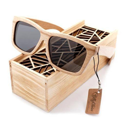 Fashion-forward Unisex Bamboo Polarized Sunglasses With Handcrafted Wooden Gift Box