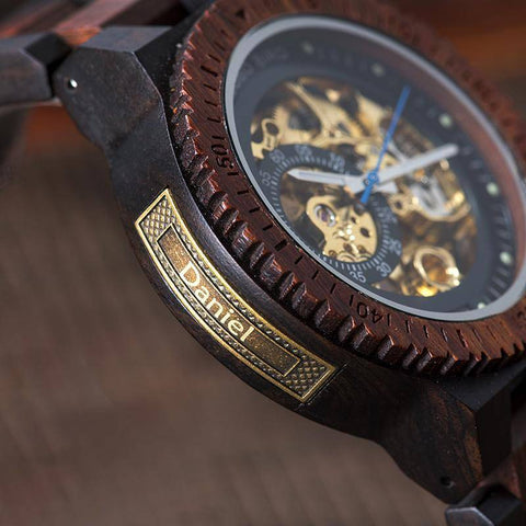 The Skeleton Dial Customizable Sandalwood Watch For Men