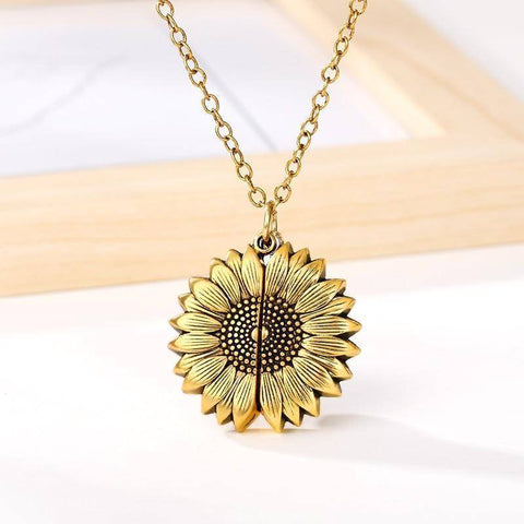 Image of You Are My Sunshine Sunflower Necklaces For Ladies