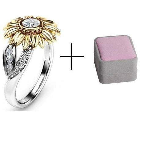 Elegant Sterling Silver & Gold Sunflower Ring