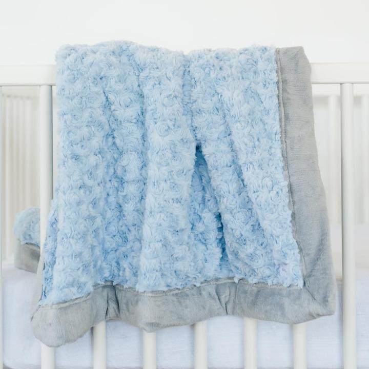 Saranoni Light Blue Swirl Gray Lush Receiving Blanket
