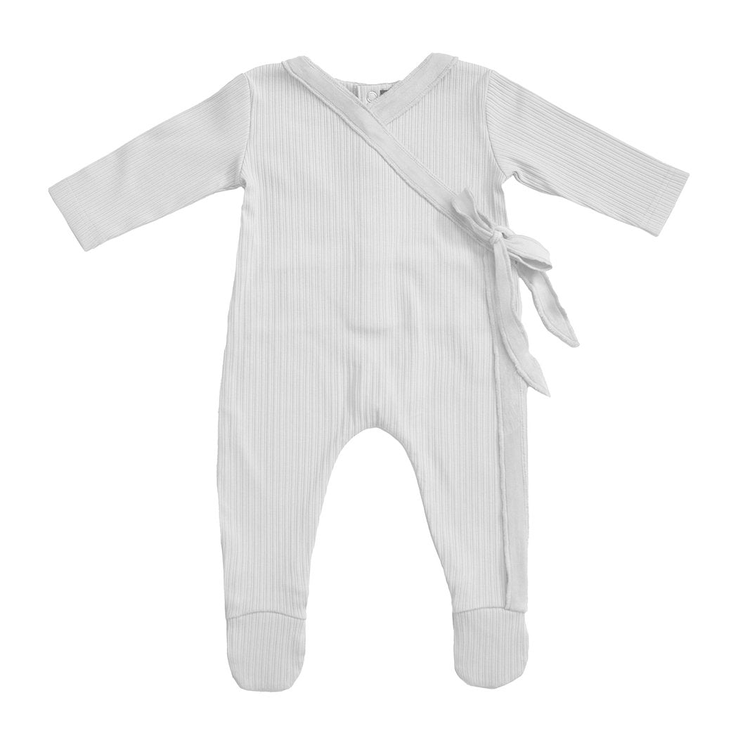 Noggiwear Velour trim wrap footie - Ivory
