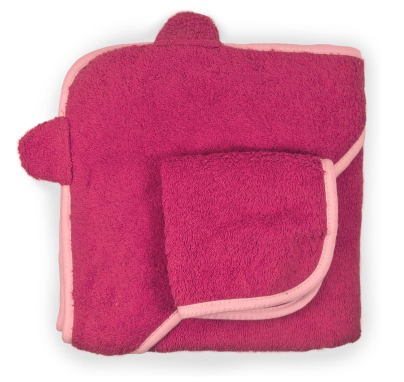 Pure Cotton Baby Hooded Towel and Washcloth Set