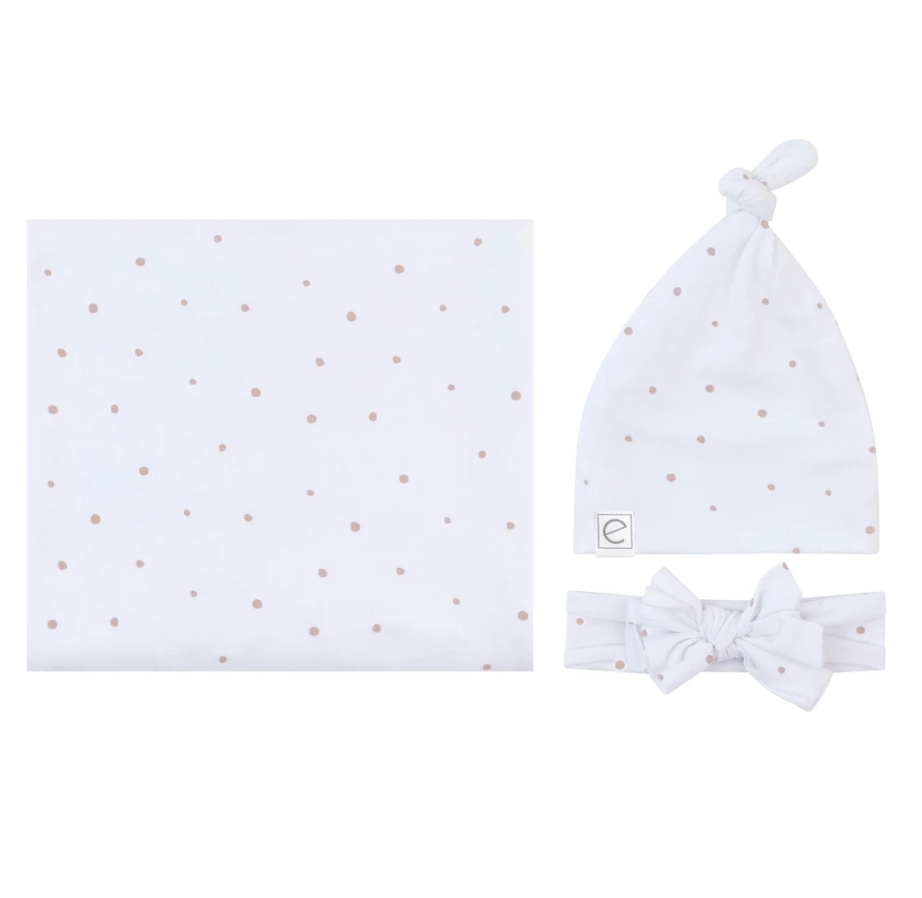Ely's & Co Jersey Knit Cotton Swaddle Blanket , Knot Hat & Headband Gift Set - Lavender Dots