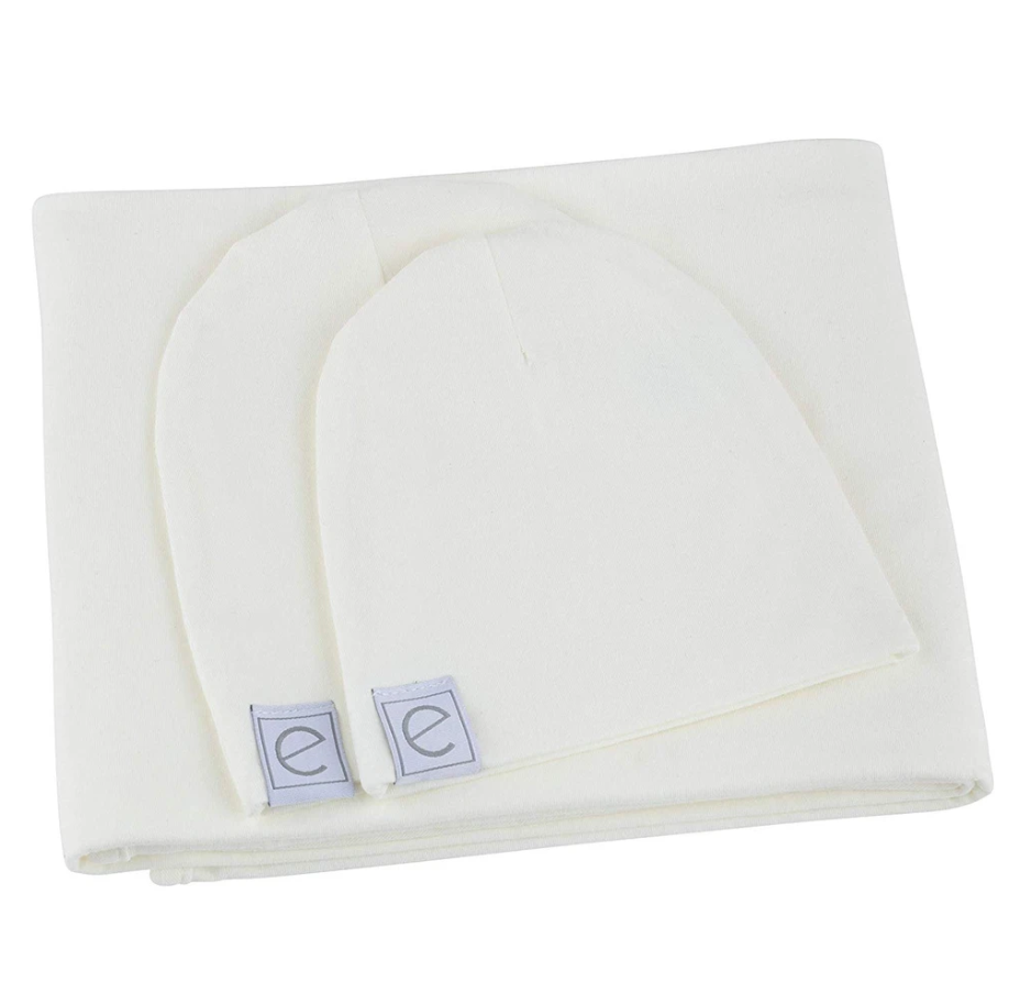 Ely's & Co Jersey Knit Cotton Swaddle Blanket and Beanie Gift Set - Ivory