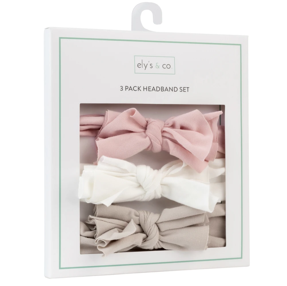 Ely's & Co 3 Pack Headband Set - Blush Pink, Tan & Ivory