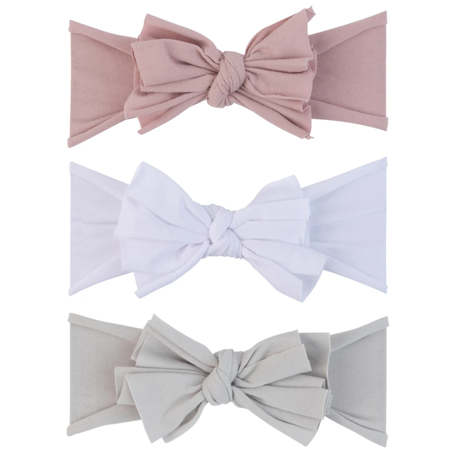 Ely's & Co 3 Pack Headband Set - Mauve Lavender, Grey & White