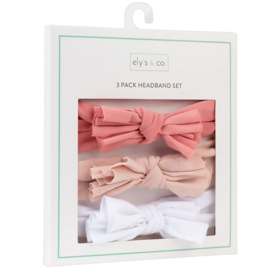 Ely's & Co 3 Pack Headband Set - Fuchsia, Blush & White