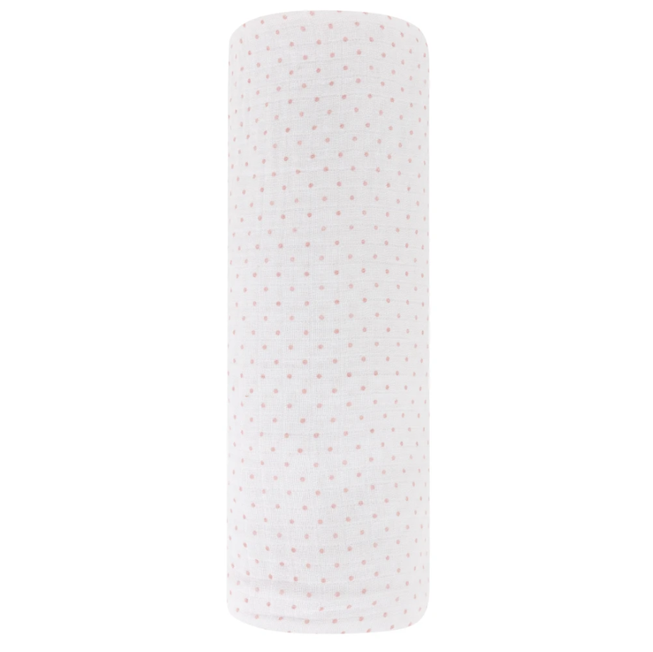 Ely's & Co Cotton Muslin Swaddle Blanket - Pink Pin Dot