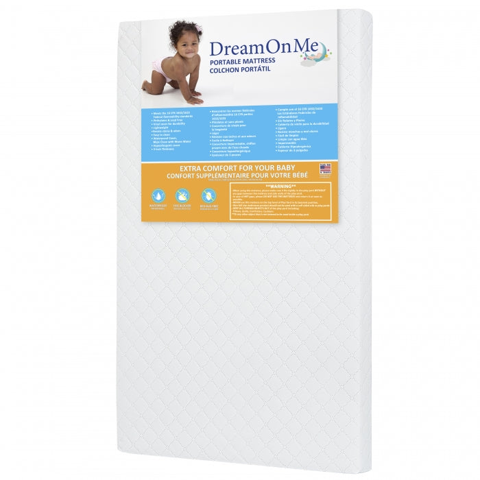 "Dream On Me 3"" Extra Firm Portable Crib Mattress  White"