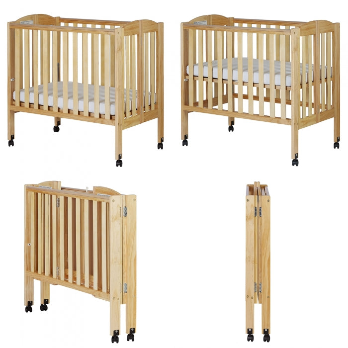 2 in 1 Folding Portable Crib Natural