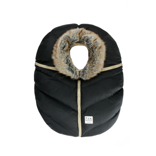 7AM Car Seat Cocoon Faux Fur Black