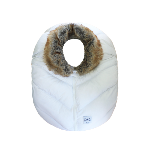 7AM Car Seat Cocoon Faux Fur White
