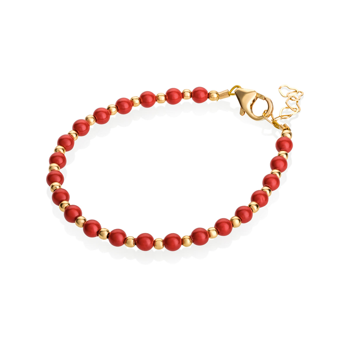 Crystal Dream Red Pearl with Gold Bead Bracelet