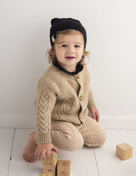 Jacqueline & Jac Black Winter Knit Beanie-Infant