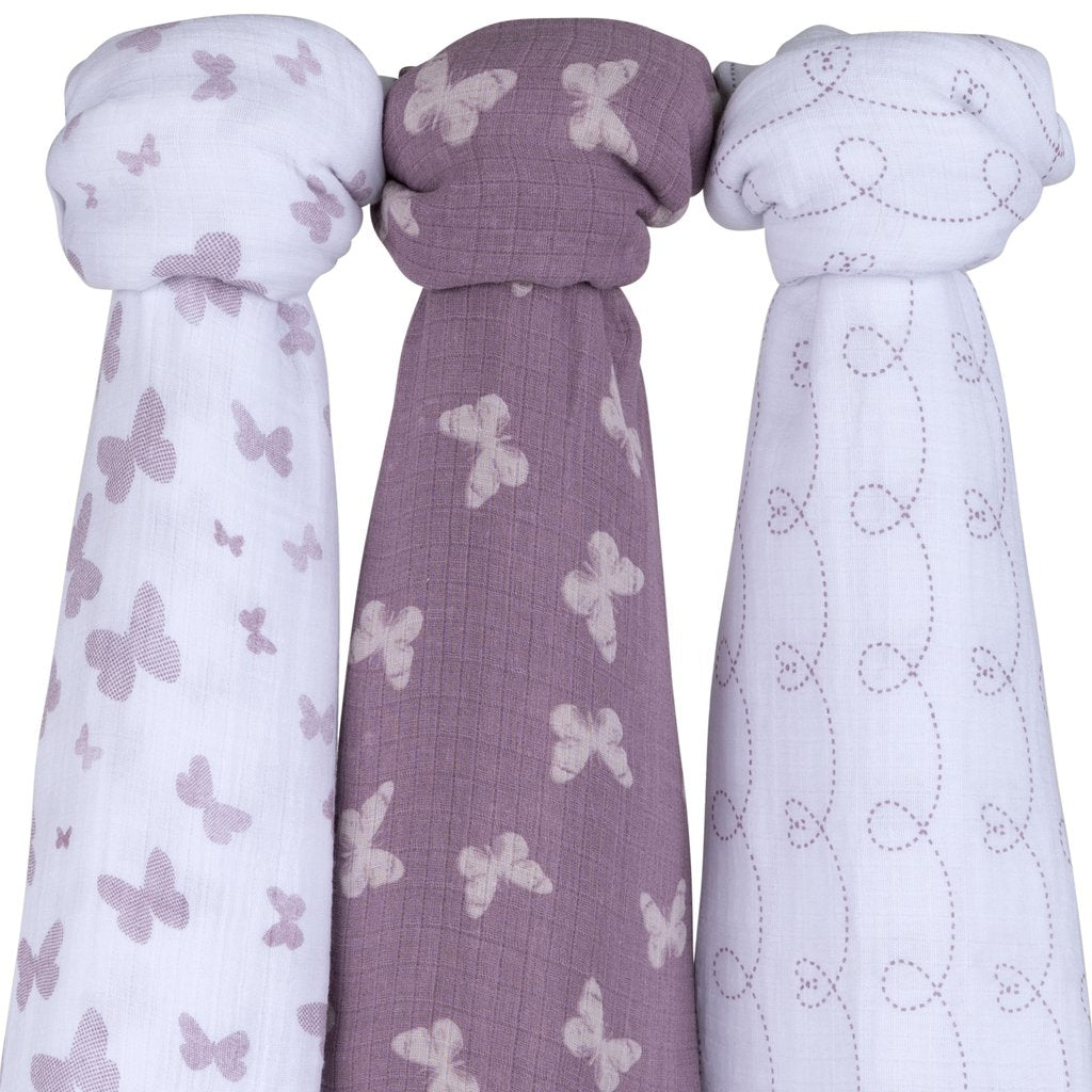 Ely's & Co Cotton Muslin Swaddle Blanket Lavender Butterfly Design - 3 Pack