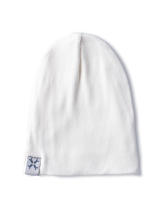 Jacqueline & Jac Natural White Ribbed Beanie