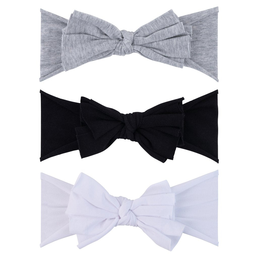 Ely's & Co 3 Pack Headband Set - Onyx, Heather Grey & White