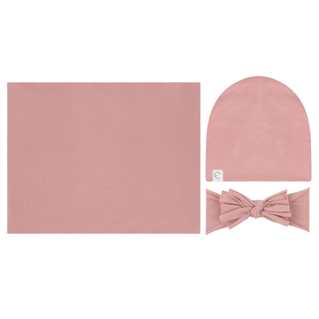 Ely's & Co Jersey Knit Cotton Swaddle Blanket, Beanie & Headband Gift Set - Dusty Rose