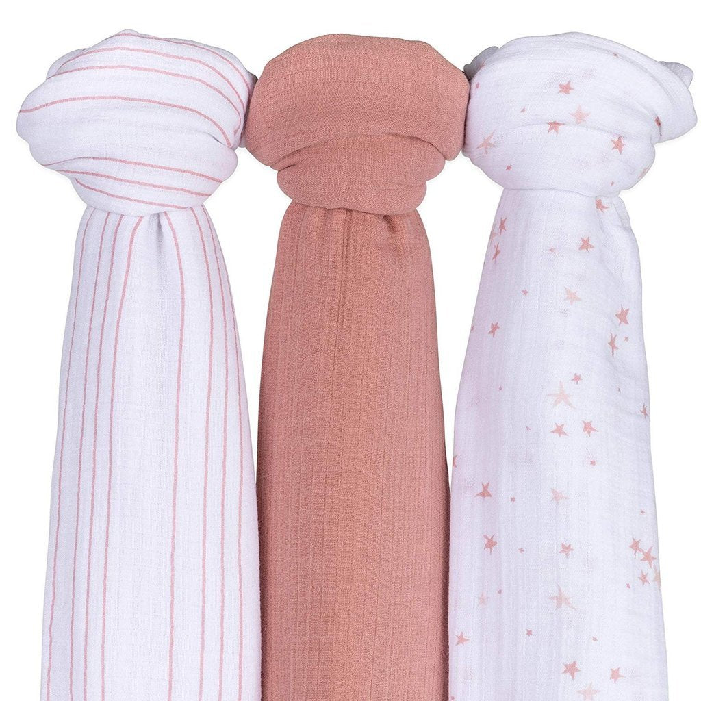 Ely's & Co Baby Cotton Muslin Swaddle Blanket 3Pack Dusty Rose